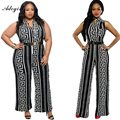 Adogirl Women Wide Leg Jumpsuit Overalls Plus Size 3XL 2016 Long Trousers Outfits Women Black Print Gold Belted Ladies Playsuits