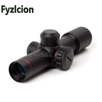 Fyzlcion 4 5x20E Compact Hunting Rifle Scope Red Illuminated Glass Etched Reticle Riflescope With Flip Open
