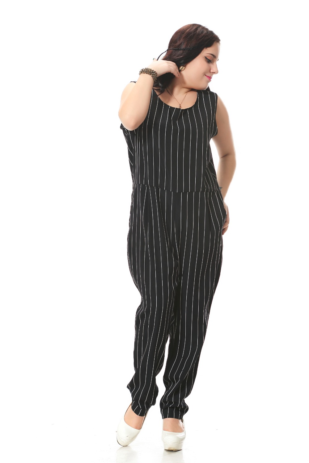 Plus size formal jumpsuit with pockets Black stripe print ...