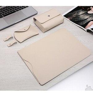 Image 2 - Sıcak PU deri dizüstü bilgisayar kol çantası Macbook Air 13 Retina 11 12 15 dizüstü bilgisayar kılıfı için Xiaomi Pro 15.6 kadın erkek su geçirmez kapak