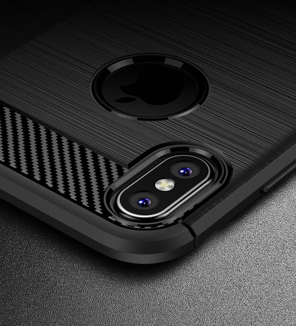 TOMKAS Phone Case Carbon Fiber Cover For iPhone XS Plus X 2018 5.8 6.1 6.5 Inch Soft TPU Silicon Case Protective Back Cover 2018 (19)