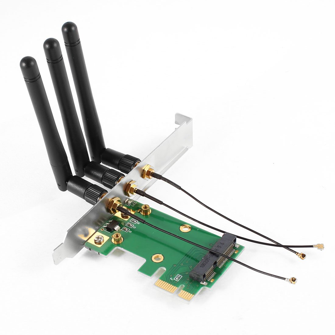 GTFS Hot Mini PCI-E Express to PCI-E Wireless Adapter w 3 Antenna WiFi for PC