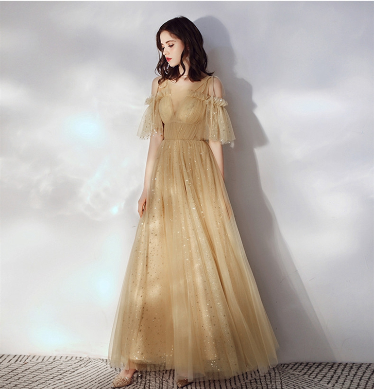 Gold Illusion Prom Dresses 2019 New Tulle Sequined Lace O neck Floor Length Lace up A line Elegant Ruffles Sleeves Evening Dress in Prom Dresses from Weddings Events