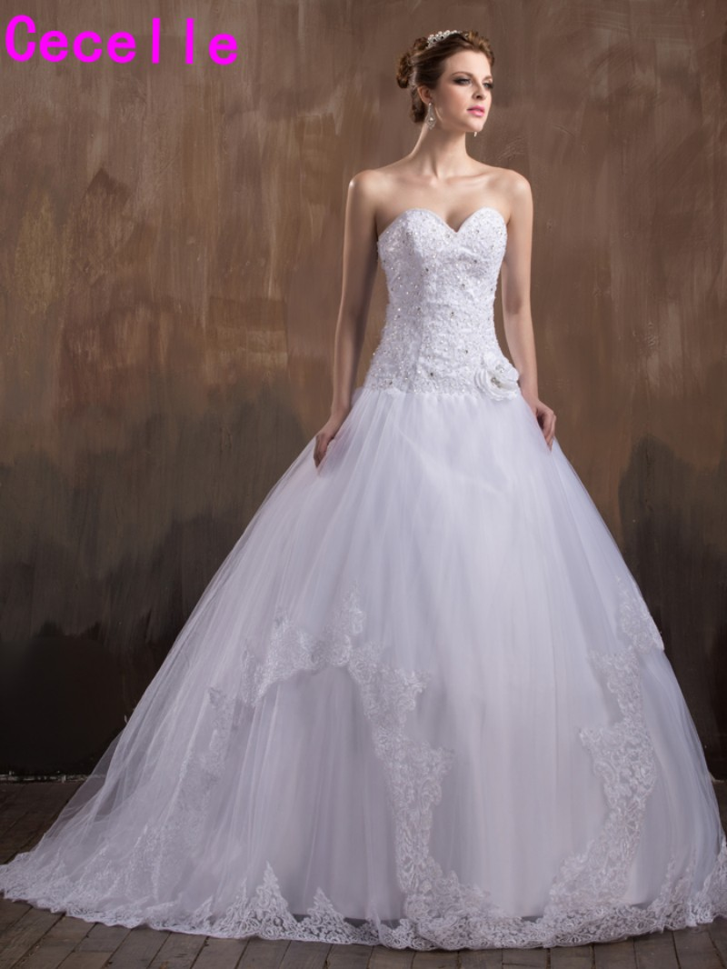 2017 New Ball Gown Sweetheart Wedding Dresses Beaded Appliques Tulle ...