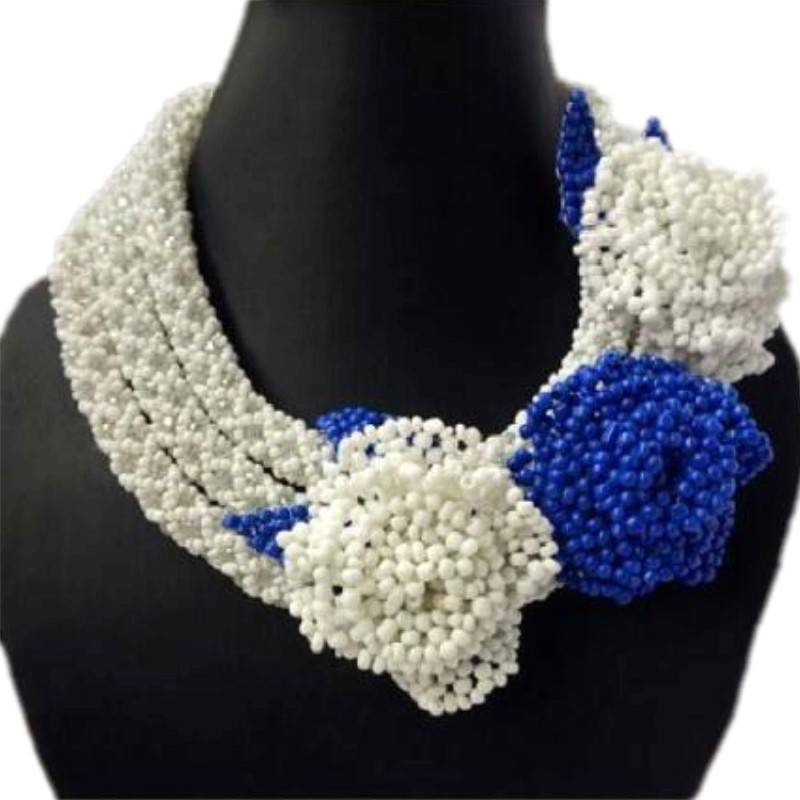 Chunky African beads Jewelry Set in White Red Blue Flowers Fashion Jewelry Accessory Big Design Nigerian Wedding Beads Set 2018