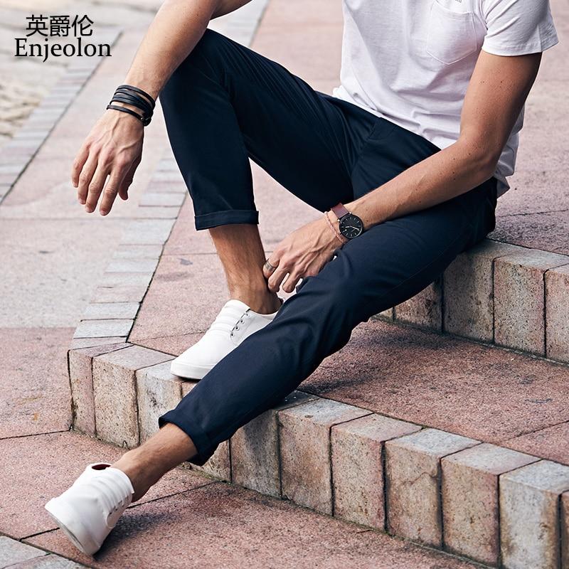 Enjeolon marca 2017 nuevos pantalones largos rectos pantalones - Ropa de hombre