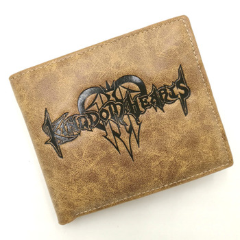 Japanese Anime/Game Kingdom Hearts Mark PU Leather Wallet Khaki Multilayer Card Holder Purse for Men Women Gift