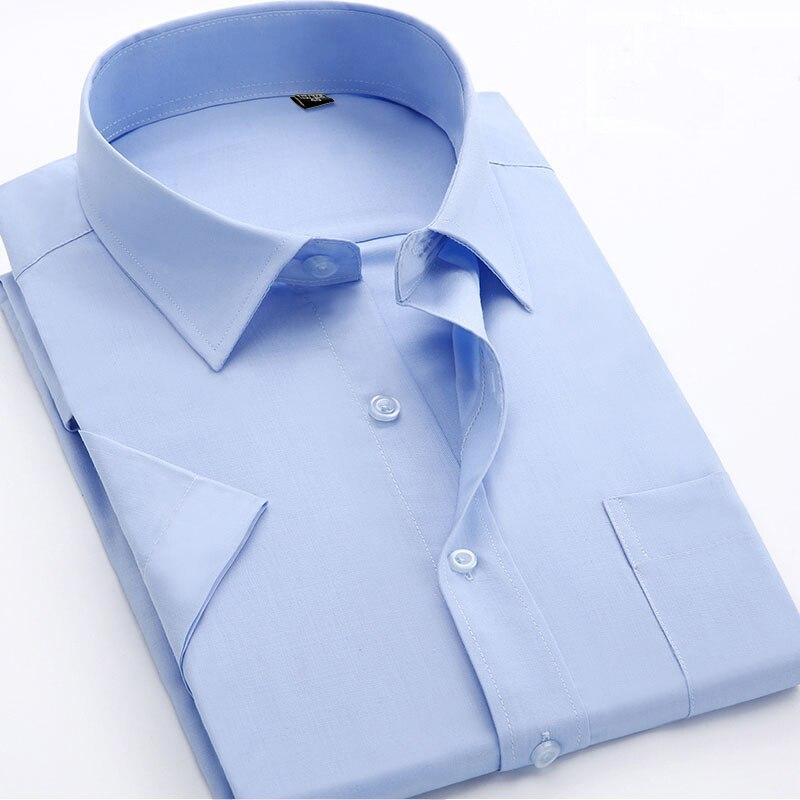 Мужская деловая рубашка, однотонная, с коротким рукавом