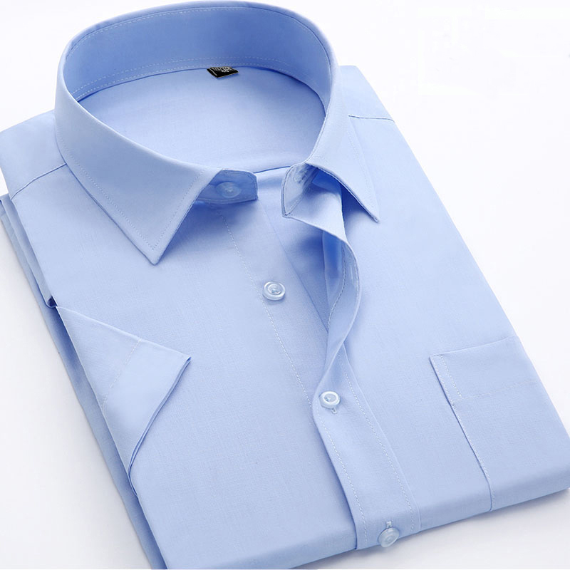 Solid Color Short Sleeve Men's Casual Shirts Men's Formal Business Dress Shirts Classic Style Work Wear