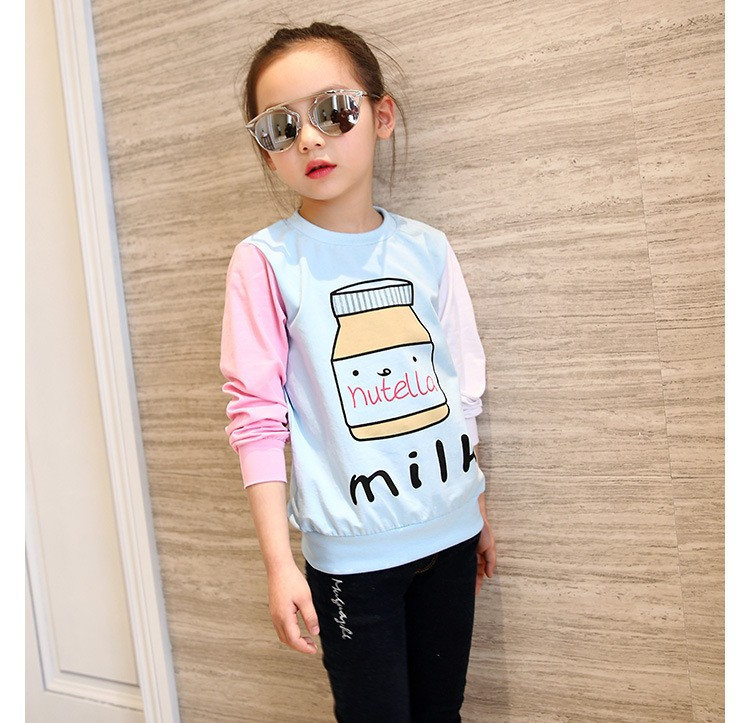 little teenage girls t-shirt character girls tops blue white pink patchwork tees girl tshirt 2016 spring autumn kids clothes  6 7 8 9 10 11 12 13 14 15 16 years old big little teenage girls long sleeve t-shirts children clothing (1)