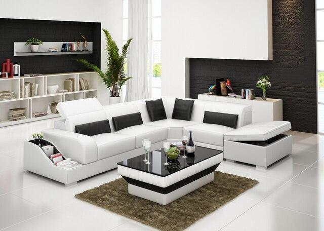 Soggiorno bel colore divano ad angolo in pelle disegni