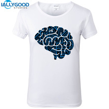 New Summer Fashion Funny Cybernetic Brain T-Shirts Women Cool Printed Brain T Shirt Short Sleeve Soft Cotton White Top S1436