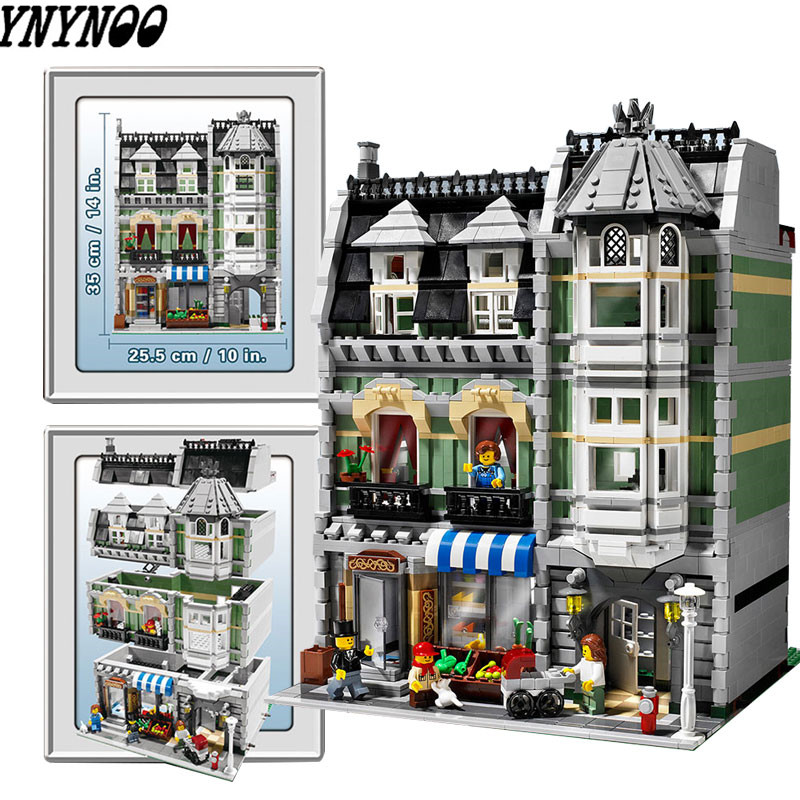 YNYNOO LELE 30005 15008 2462Pcs City Street Creator Green Grocer Model Building Kits Blocks Bricks Compatible 10185 dhl lepin15008 2462pcs city street green grocer model building kits blocks bricks compatible educational toy 10185 children gift