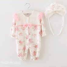 100% cotton Baby girl romper infant princess outfit lace jumpsuit new born baby Brands clothes Baby climbing clothes + hat 2pcs