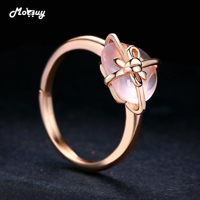 MoBuy Rose Quartz Love Heart Natural Gemstone Rings 925 Sterling Silver Rose Gold Plated Jewelry For Women Anniversary MBRI051
