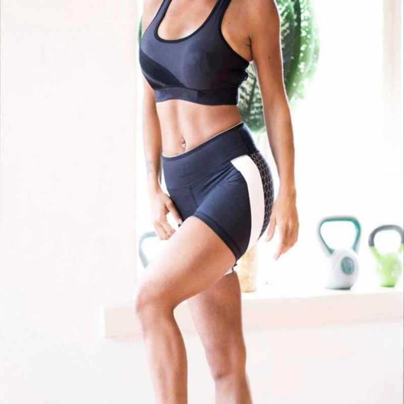 2018 новые женские Лоскутные эластичные спортивные шорты для йоги стрейч Бандаж с высокой талией спортзал фитнес бег быстросохнущие короткие брюки
