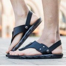 Musim panas Pria Sandal Asli Perpecahan Kulit Pria Pantai Sandal Merek Pria Kasual Sepatu Sandal Jepit Thong Sneakers Plus Ukuran Besar