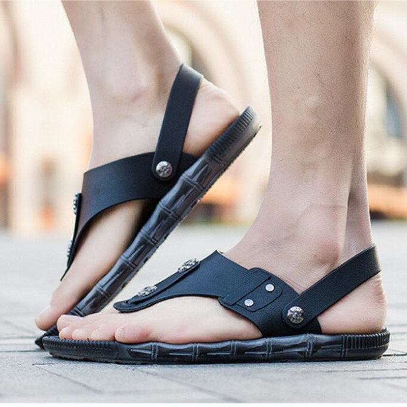 Summer Men Sandals Genuine Split Leather Men Beach Sandals Brand Men Casual Shoes Flip Flops Thong Sneakers Plus Big Size