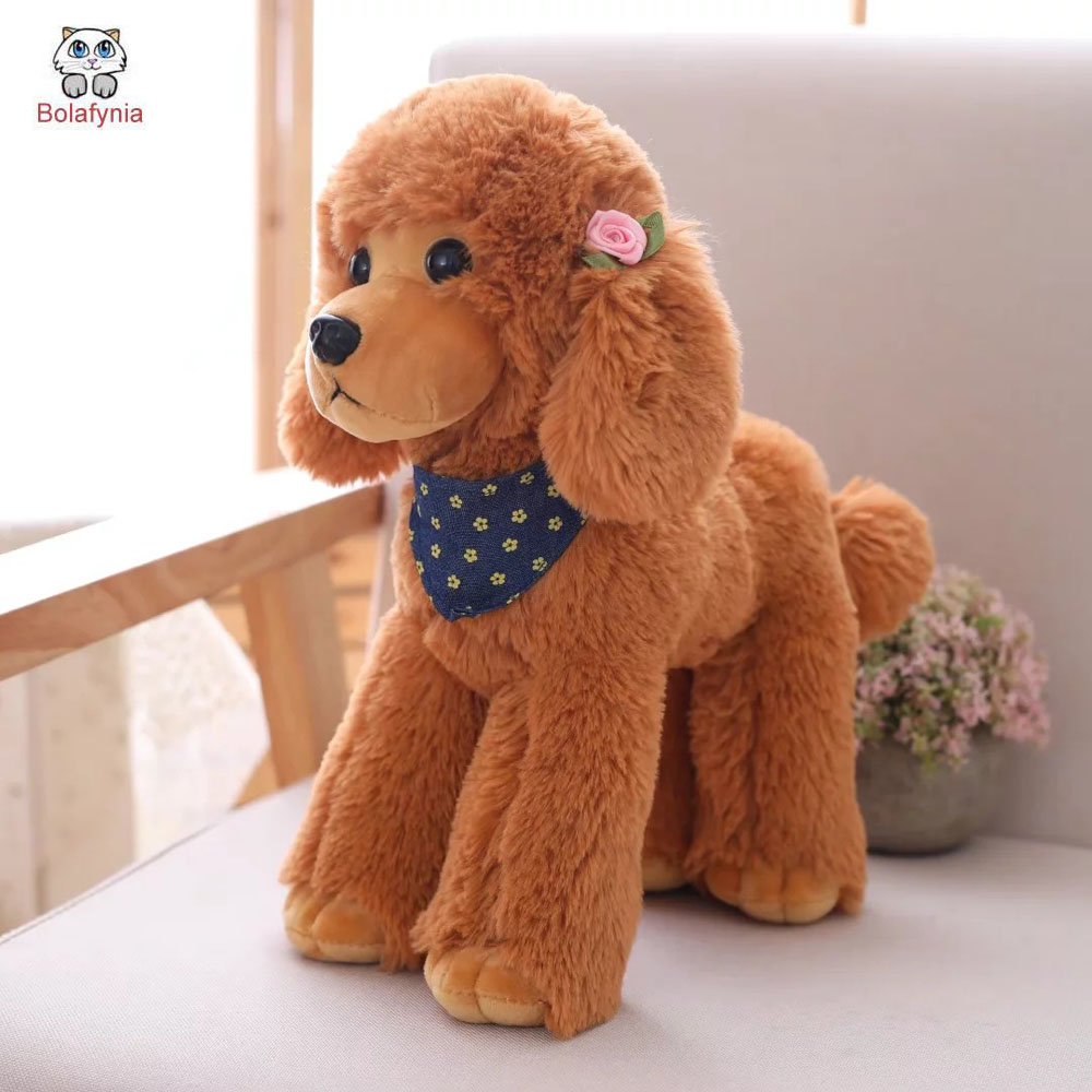 BOLAFYNIA Children plush stuffed toy poodle Dog baby kids Christmas birthday toy gift high quality resin bichon frise dog figure car styling home room decoration love poodle decorative article christmas gift toy
