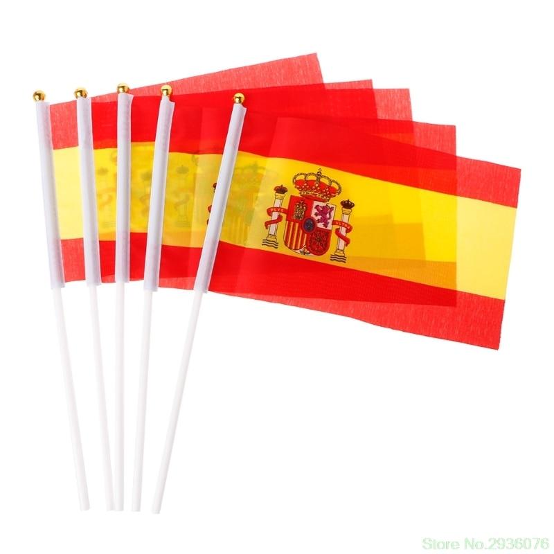 5 шт., испанские флаги, развевающиеся вручную, испанские баннеры, спортивное открытие, открытый декор, Прямая поставка, поддержка