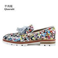 Qianruiti Colorful Men Knitting Plaid Shoes Casual Loafers Graffiti Newspaper Flats street style mens Tassel Oxfords