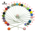 26pcs/box 2016 New Arrival Fashion Colorful Rhinestone Ball Muslim Brooch Hijab Scarf Pins Can Choose Color/8mm Ball Bead
