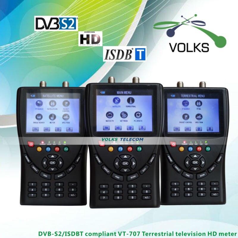 ISDB-T/DVB-S2 Compliant HD Meter VT707 Terrestrial television meter HD Satellite finder meter original dvb t satlink ws 6990 terrestrial finder 1 route dvb t modulator av hdmi ws 6990 satlink 6990 digital meter finder