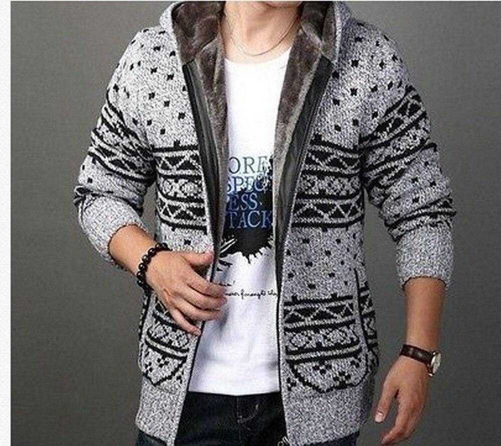 S600 Mens Zip fur Lining Wool Knitted Warm Cardigan Sweater coat ...