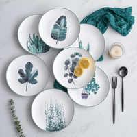Green Plants Ceramic Dinner Plate Tableware Dessert Cake Snacks Dish Western Food Beef Steak Plate Dinner Set Kitchen Dinnerware