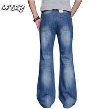 Jeans Men 2019 Men's modis Big Flared Jeans Boot Cut Leg Flared Loose Fit high  Male Designer Classic Denim Jeans Biker jeans 2016 mens jeans boot cut leg slightly flared slim fit nostalgic blue male jeans designer classic denim jeans