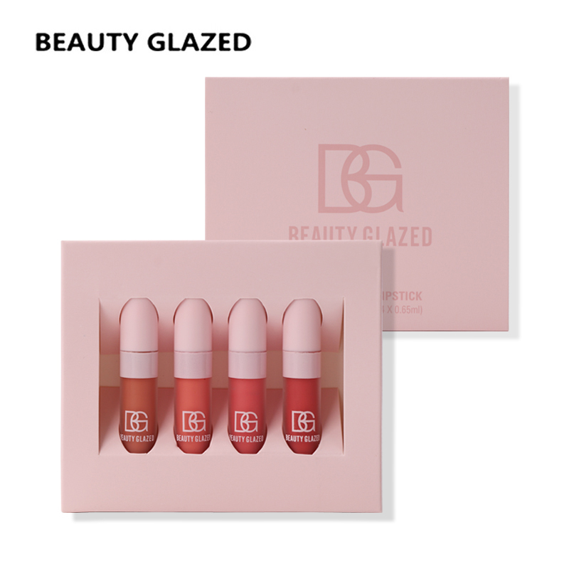 где купить Beauty Glazed Brand Lip Makeup Lip Glaze 4 Color In 1 Set Lip Gloss Moisturizer Nutritious Easy To Wear Cosmetics Lip Cosmetics по лучшей цене