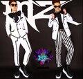 Sul coreano dos homens cantor DJ blockb Chi Long GD direito white black stripe grande arco vestido de terno trajes discotecas roupas