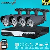 Супер 3mp Full HD 4 канала 1920 P Камеры Скрытого видеонаблюдения комплект Серый Металл Пуля Открытый безопасности Камера 4ch DVR CCTV Системы p2P