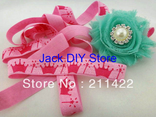 10 Yards Pink Crown 5/8 FOE Fold Over Elastic Fold Over Elastic Hair Accessorries