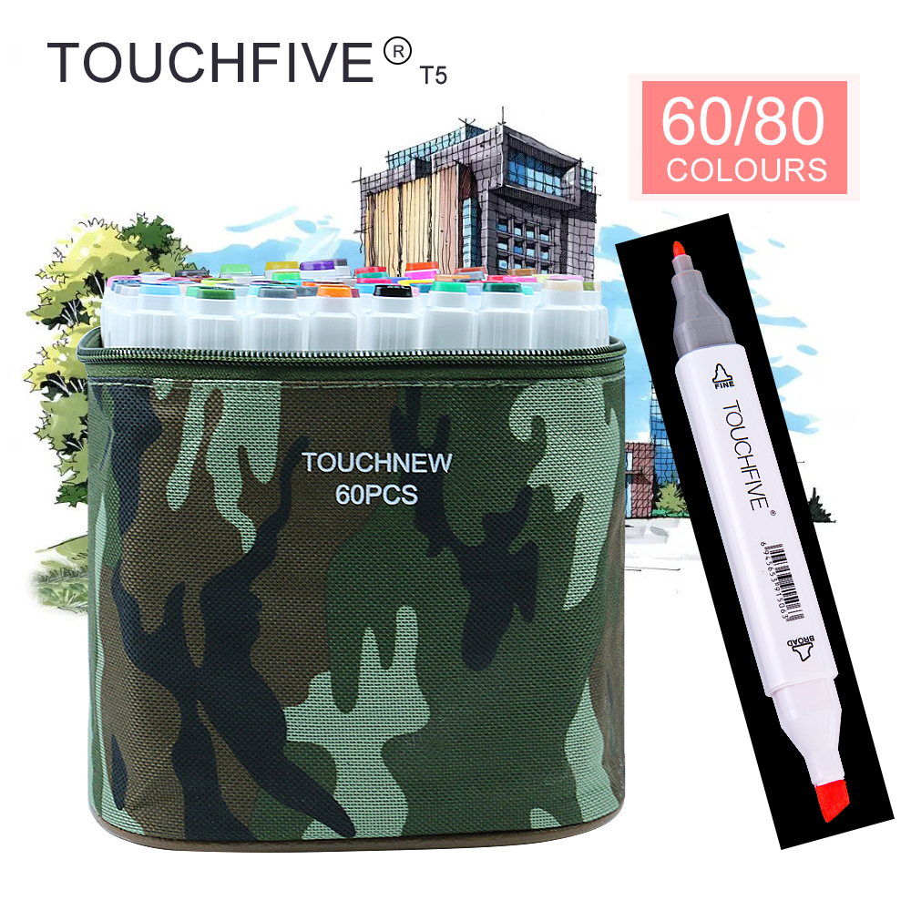 TOUCHFIVE T5S 60/80 colors dual-tip white barrel sketch markers camouflage bag for drawing painting design manga art supplies touchnew 60 colors artist dual head sketch markers for manga marker school drawing marker pen design supplies 5type