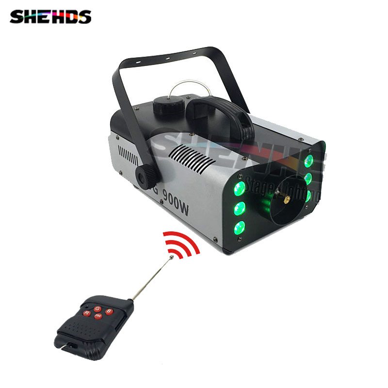 Mini 900W RGB 3IN1 Remote Control fog machine pump DJ Disco Smoke Machine for Party Wedding Christmas Stage Fogger Machine 2pcs lot shehds mini 400w rgb 3in1 smoke machine for dj disco party weedding stage fogger machine wireless remote control