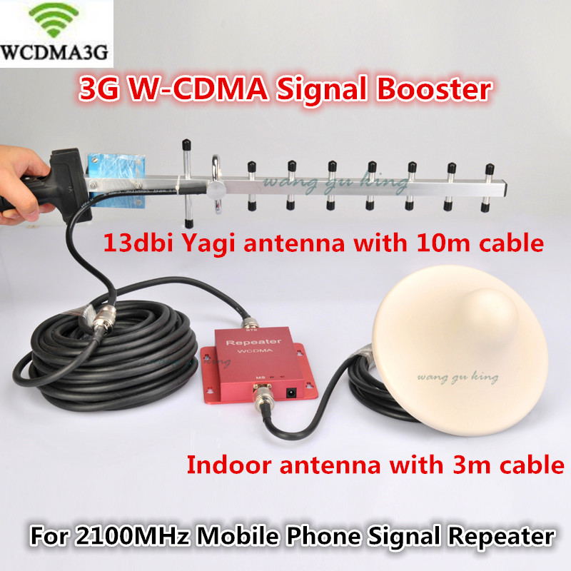 Full Set 3G Signal Booster Repeater 2100 MHz W-CDMA UMTS Repetidor 3G WCDMA Antenna Signal Amplifier 2G 3G Cell Phone Booster
