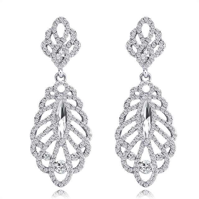 87321ef7c5273 US $3.99 20% OFF|Romance gold/silver metal openwork leaf earrings  rhinestones long earring modern women's earrings fashion jewelry 2018-in  Drop ...