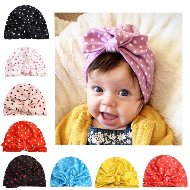 192d0a18b0c0 Baby Girl Hat Rabbit Ear Polka Dot Hats India Turban Beanie Hat ...