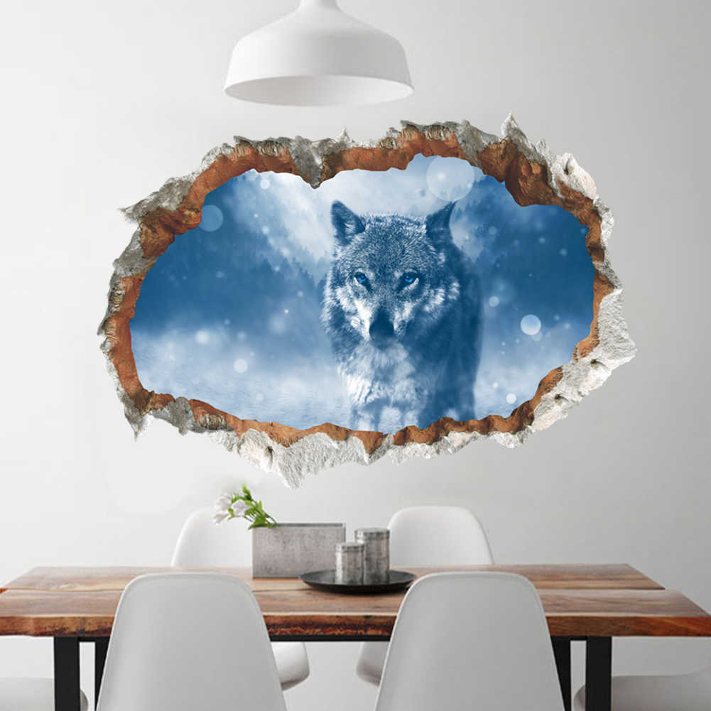 Arctic Snow Wolf Wall Stickers 3D Vivid broken Wall Decals Poster Mural Living Room Bedroom Home Decor