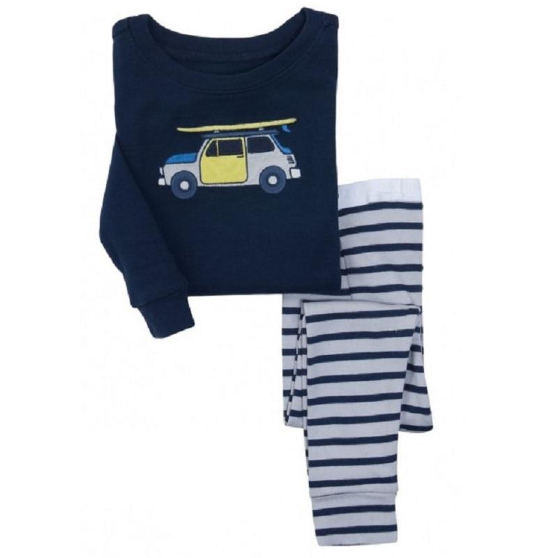 Digger Vehicle Baby Boys Clothes Suits 100% Cotton Children Pajamas Kids Sleepwear Sets Nightgown PJ'S Long Tees Shirts Pant Set 2