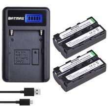 2 قطعة 2600mAhNP F550 NP F550 NPF550 بطاريات ليثيوم أيون قابلة للشحن وشاحن USB LCD لسوني NP F530 NP F570 NP F730 Hi 8