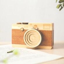 купить Musical Boxes Camera Toys Retro Birthday Gift Home Decoration Accessories Morndern Camera Wooden Music Box For Office Decoration дешево