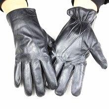 2018 Genuine Leather Male Sheepskin Fine Style Super Soft Velvet Lining Warm gloves  Free Shipping