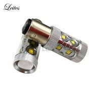 Leites 2x S25 1157 BA15D 50W High Power Cr Ee 10SMD 50W XBD LED White Bulbs