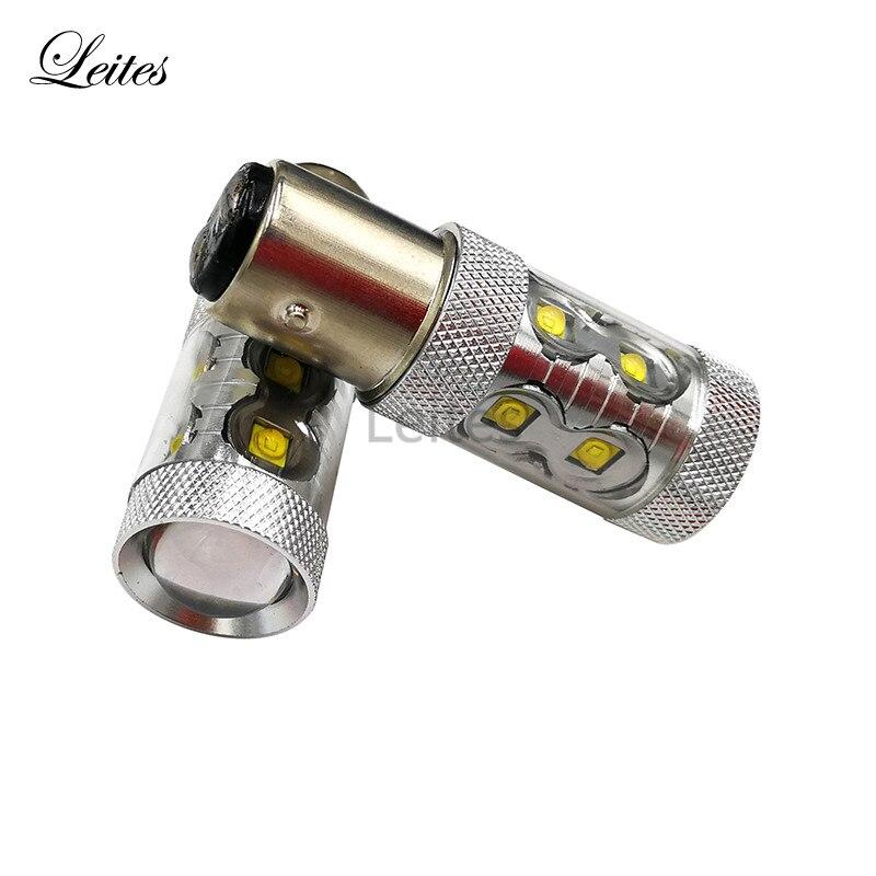 Leites 2x S25 1157 BA15D 50W High Power Cr-ee 10SMD 50W XBD LED White Bulbs 12V Brake Park Light Car Styling Replace Bulb Lamps