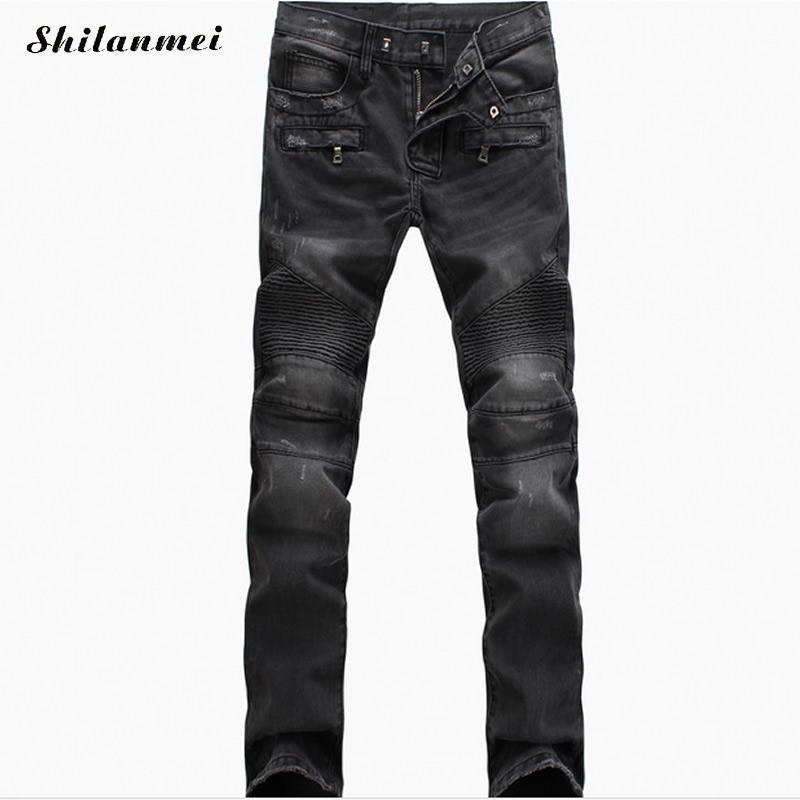 ФОТО Justin Bieber Jeans Biker Jeans Motorcycle Slim Fit PP Washed Black Blue Moto Denim Skinny Elastic Pants Joggers For Men jeans