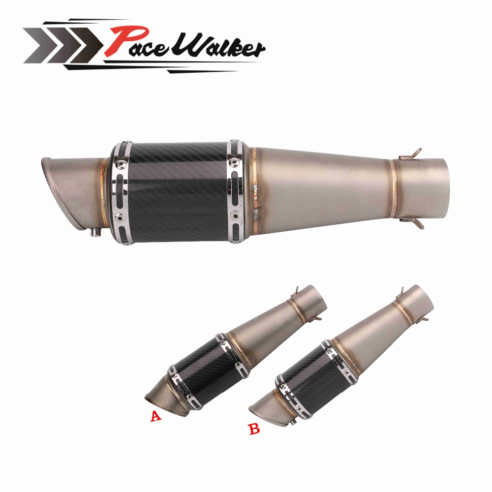 Motorcycle 51mm Universal Exhaust Muffler Pipe Escape Carbon Fiber Titanium With Moveable DB Killer