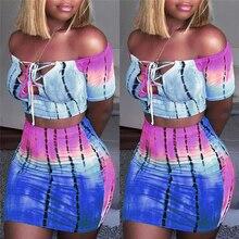 Сексуальные популярные женские комплекты одежды из 2 частей, топы с открытыми плечами, футболки, кружевные топы с вырезом+ популярные юбки, полосатые Клубные комплекты одежды