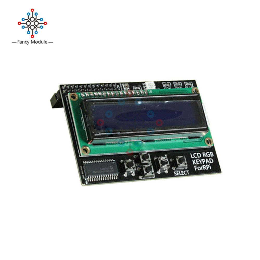 US $3 54 19% OFF|I2C interface 1602 16x2 Pi Plate LCD RGB with LED Display  Keypad Shield Expanding Board Blue Backlight For Raspberry Pi B+/B-in